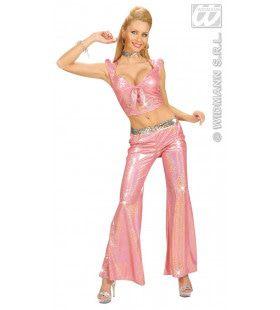 Holografische Broek Dames, Rose Vrouw Kostuum