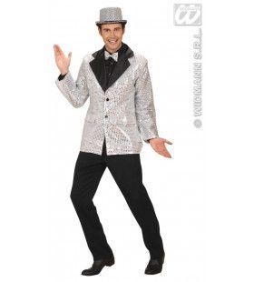 Pailletten Colbert, Zilver XL Man Kostuum