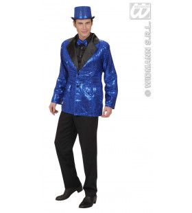 Pailletten Colbert, Blauw XL Man Kostuum