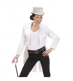 Frackjas Satijn Dames, Wit Vrouw Kostuum