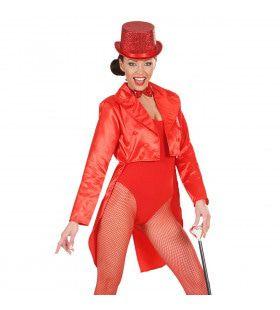 Frackjas Satijn Dames, Rood Vrouw Kostuum