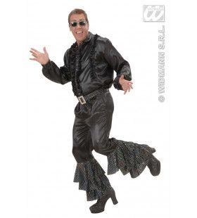 Zwarte Broek Fluweel Met Wt / Zw Pailletten Man Kostuum