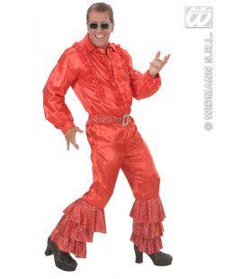 Rode Broek Satijn Met Pailletten Man Kostuum