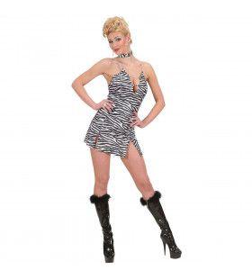 Jurk Zebraprint Met Halsband Tiger Lady Kostuum Vrouw