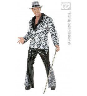 Broek Vinyl Zwart Met Zebra Print Man