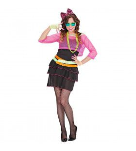 Roze 80s Groupie Meisje Vrouw Kostuum