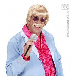 Pruik, Popster 60s Blond Met Snor En Bril
