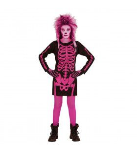 Korte Jurk Skelet Kind Roze Meisje