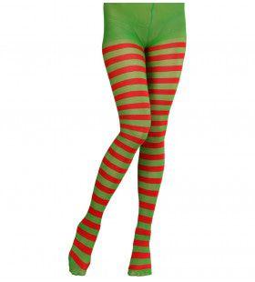 Kerstmis Panty, Rood / Groen Gestreept