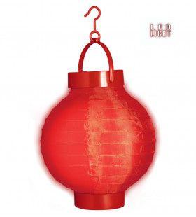 Feestelijke Lampion Met Licht 15cm, Rood