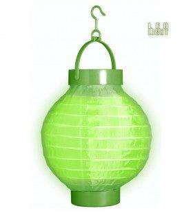 Feestelijke Lampion Met Licht 15cm, Groen