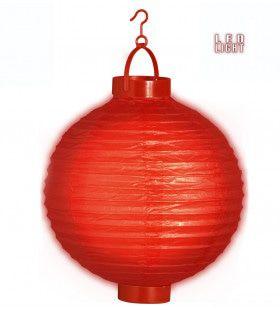 Feestelijke Lampion Met Licht 30cm, Rood