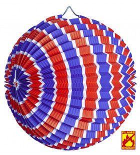 Feestelijke Papieren Bal Rood / Wit / Blauw Gestreept