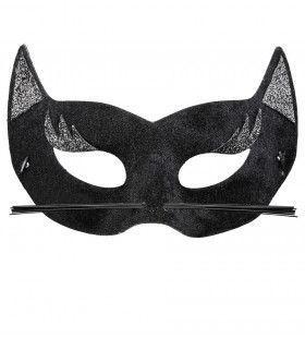 Sexy Oogmasker Fluweel Zwarte Panter Met Glitters