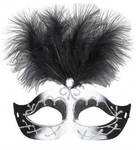 Uitbundig Oogmasker Venetie Zwart / Wit
