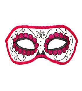 Mexicaans Oogmasker Dia De Los Muertos Zwart & Roze