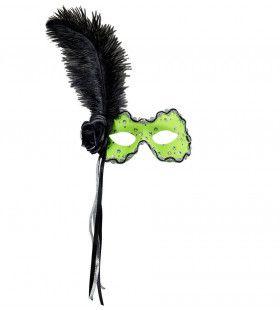 Samba Oogmasker Brazilie Met Veren, Neon Groen