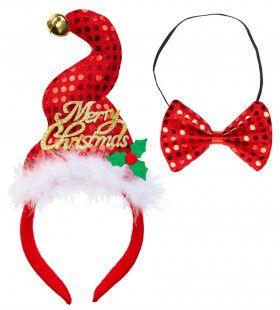 Grappige Kerst Pailletten Mini Hoedje Met Belletje En Strikje