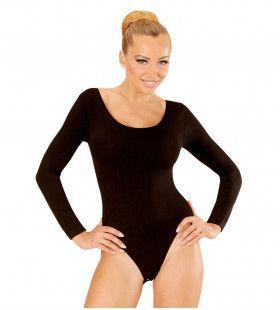 Unicolor Body Volwassen Met Knoopsluiting, Zwart Vrouw Kostuum