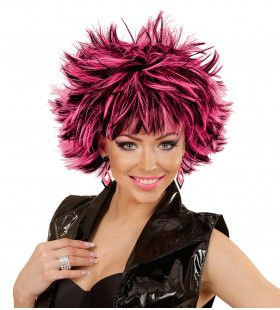 Punk Chick Pruik, Steamy Zwart / Roze