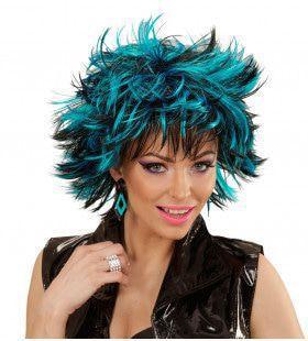 Punk Chick Pruik, Steamy Zwart / Blauw