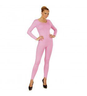 Unicolor Body Volwassen, Lang, Zacht Roze Vrouw Kostuum