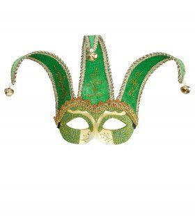 Nar Oogmasker, Joker Met Decoratie Glitters, Groen
