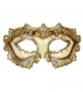 Rococo Luxe Barok Colombina Masker Ivoor Met Strass