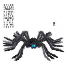Animatie Zwarte Spin Met Bewegende Poten En Licht