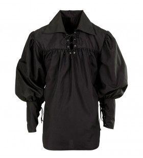 Musketier Shirt Zwaardvechter Zwart
