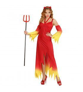 Fire Devil Duivelse Dame Vrouw Kostuum