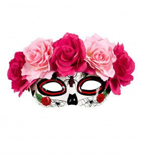 Acapulco Oogmasker Dia De Los Muertos Met Rode / Roze Rozen