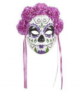 Oaxaca Masker Dia De Los Muertos Met Paarse Rozen