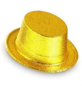 Showmaster Glitter Hoge Hoed, Goud