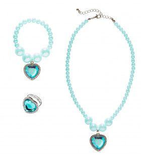Prinses Ketting, Armband, Ring Strass Hart Azuur Blauw