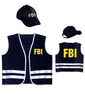 Zwart Fbi Vest Met Cap Kind