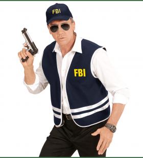 Zwart Fbi Vest Met Cap, Volwassen