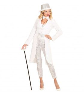 Showlady Witte Frackjas Vrouw Kostuum