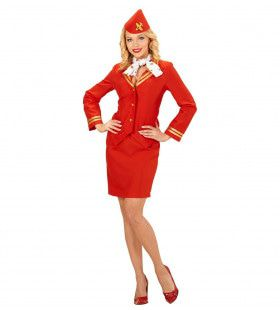 Flying Red Stewardess Vrouw Kostuum