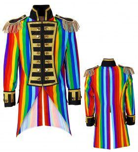 Multicolor Frackjas Regenboog Vrouw Kostuum