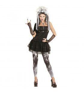 Korte Gothic Punk Vrouw Kostuum