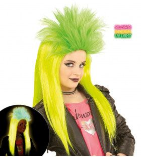 Neon Rock Pruik, Kind Punk Geel / Groen
