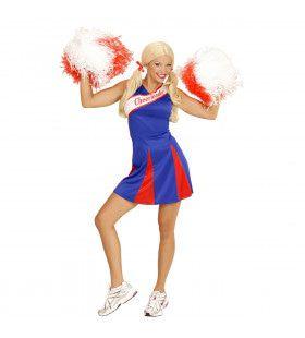 Amerikaanse Cheerleader Blauw / Rood Vrouw Kostuum