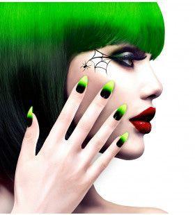 Duivelin Nagels Stiletto Zwart / Neon Groen