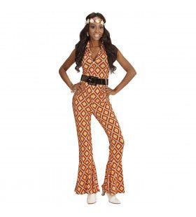 Oranje Hippie Groovy Geralda 70s Dames Jumpsuit, Ruit Vrouw Kostuum