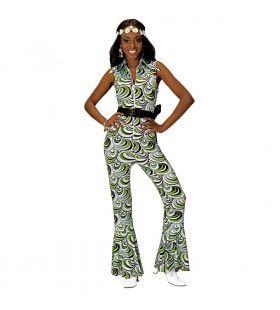 Groovy Geralda 70s Dames Jumpsuit, Golven Vrouw Kostuum