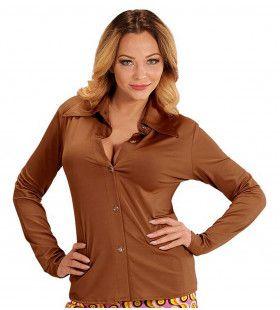 Groovy Gina 70s Dames Shirt, Bruin