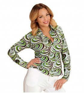 Groovy Gina 70s Dames Shirt, Golven Vrouw