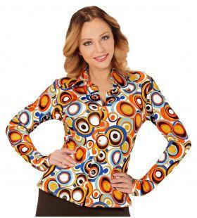 Groovy Gina 70s Dames Shirt, Luchtbellen