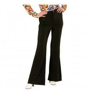 Groovy Gwendolyn 70s Dames Broek, Zwart Vrouw